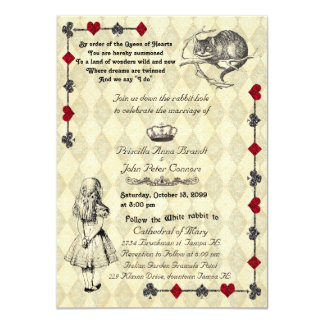 "Wedding Invitation ""Alice in Wonderland"" 4x6"