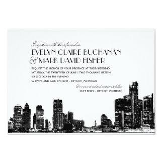 Wedding Invitation | Art Deco Detroit Skyline