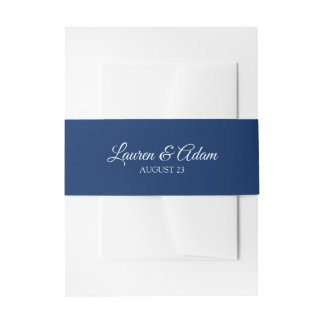 Wedding Invitation Belly Bands / Wraps   Navy Blue Invitation Belly Band