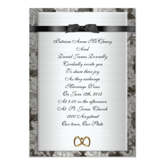 Wedding Invitation Black and white formal roses
