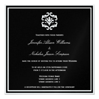 Wedding Invitation Black and White on Metallic