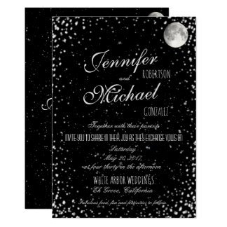 Wedding Invitation | Black Starry Night Moon