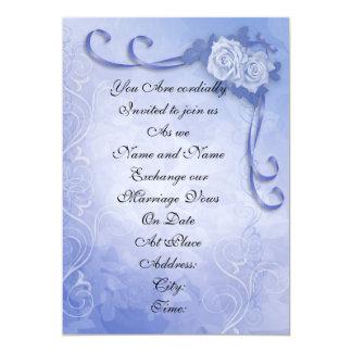 Wedding invitation Blue antique roses