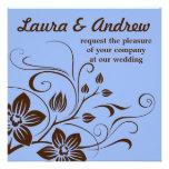 Wedding Invitation - Brown & Blue Damask