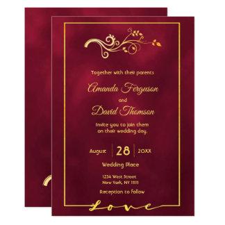 Wedding invitation card burgundy faux gold decor