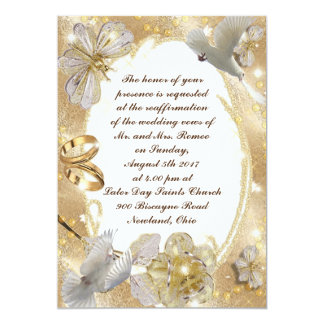 Wedding Invitation Card Floral Golden and Silver
