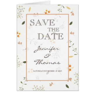 Wedding Invitation Card flowers minimalist.