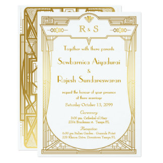 Wedding invitation card,Great Gatsby,gold white 2
