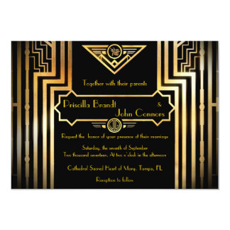 Wedding invitation ceremony, great-Gatsby