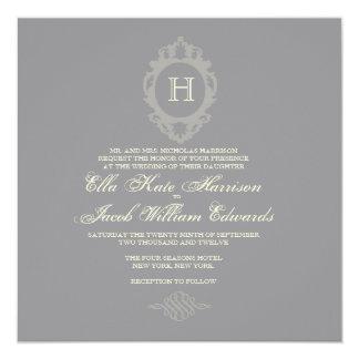 "Wedding Invitation // Charcoal Monogram Collection 5.25"" Square Invitation Card"