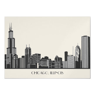 Wedding Invitation | Chicago City Skyline