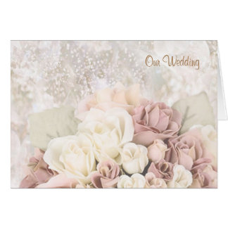 Wedding Invitation - Cream-white-pinkish roses.