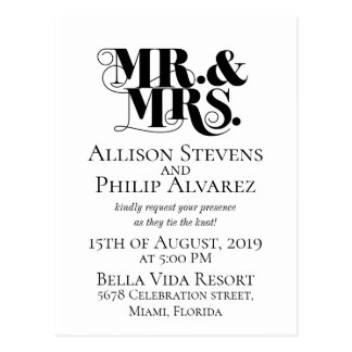 Wedding invitation design, with mr., mrs. elements postcard
