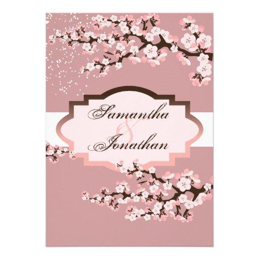 Wedding Invitation Dusty Rose Pink Cherry Blossom
