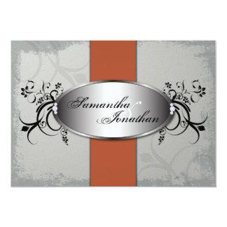 Wedding Invitation Elegant Gray Orange Aged Floral