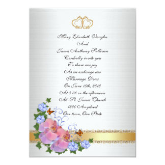 Wedding invitation Elegant  pink orchids and ivy