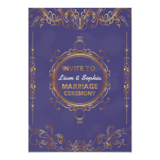 Wedding Invitation Floral Golden Elegant Card