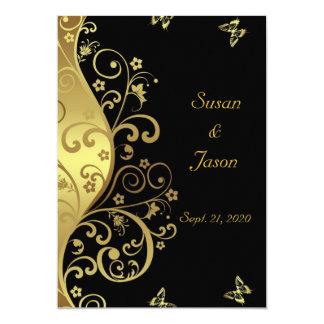 Wedding Invitation--Gold Swirls & Black 5x7 Card