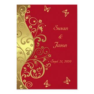 Wedding Invitation--Gold Swirls & Red 5x7 Card
