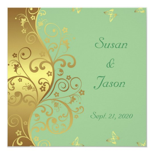 Wedding Invitation--Gold Swirls & Seafoam Card