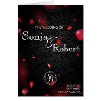 Wedding Invitation - Gothic Black w Rose Petals