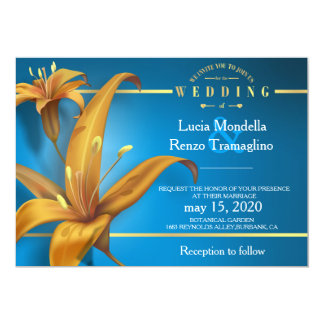 wedding invitation in blue with lily design