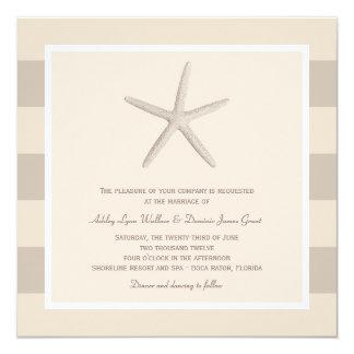 Wedding Invitation | Ivory Starfish Stripes
