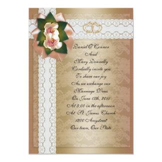 Wedding Invitation Magnolias and lace elegant