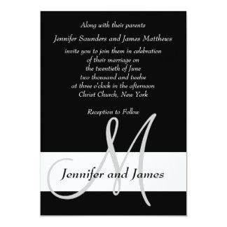 Wedding Invitation Monogram Black and White