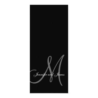 Wedding Invitation Monogram Initial Black & White