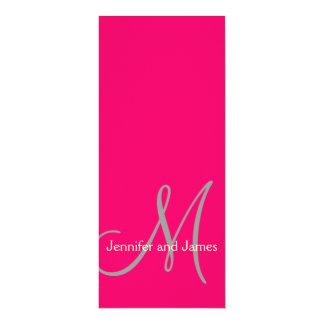 Wedding Invitation Monogram Initial Pink & Cream