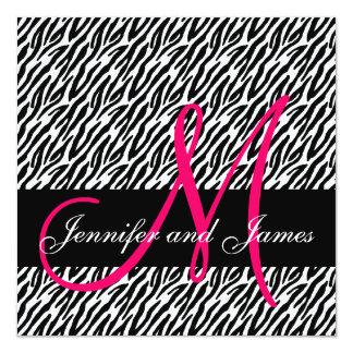 Wedding Invitation Monogram Names Black White Pink