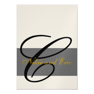 Wedding Invitation Monogram Names Gold Black Gray