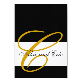 Wedding Invitation Monogram Names Gold Black White