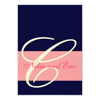Wedding Invitation Monogram Names Pink, Ivory Navy