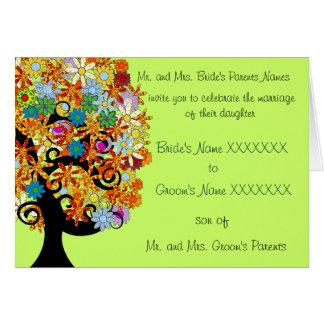 Wedding Invitation -Multi-Colored Flower Love Tree
