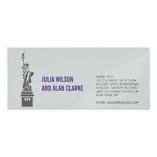 Wedding Invitation New York Purple Silver Paper