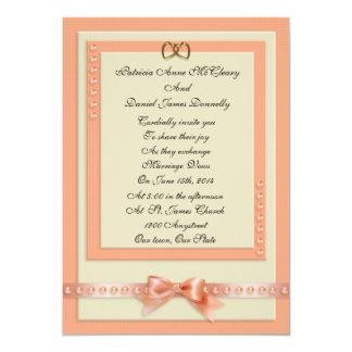 Wedding Invitation peach and cream