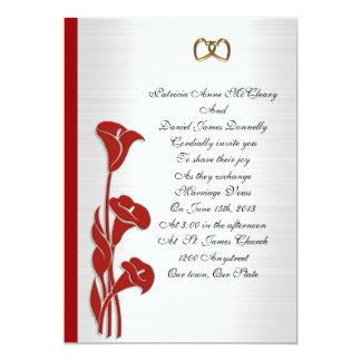 Wedding Invitation red calla lily