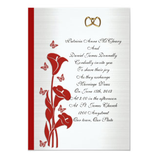 Wedding Invitation red calla lily and butterflies