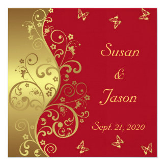 Red And Gold Wedding Cards Photocards Invitations Amp More