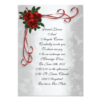 Wedding invitation red roses and ribbons