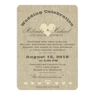 Wedding Invitation   Rustic Linen Monogram