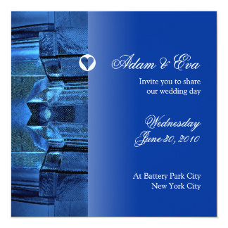 Wedding Invitation Sapphire Blue Gemstone Mosaic