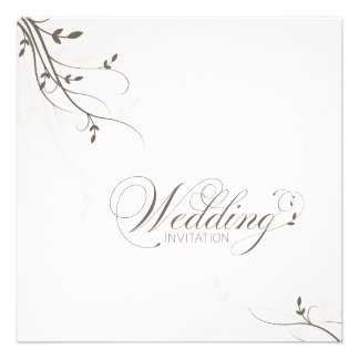 Wedding Invitation Simple Elegance Leafy Beige