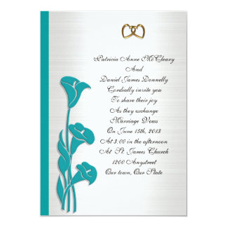 Wedding Invitation turquoise calla lily