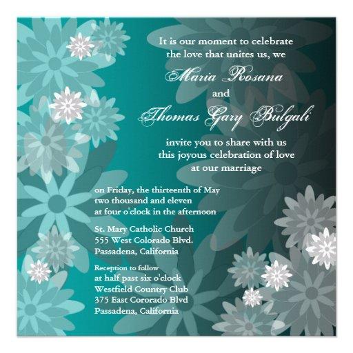 Wedding Invitation Vintage Emerald Green Flowers
