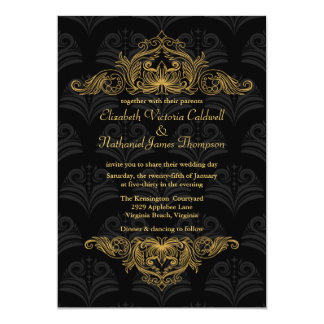 Wedding Invitation Vintage Gold filigree | black