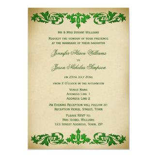 """Wedding Invitation Vintage Leaf Scrolls in Green 5"""" X 7"""" Invitation Card"""