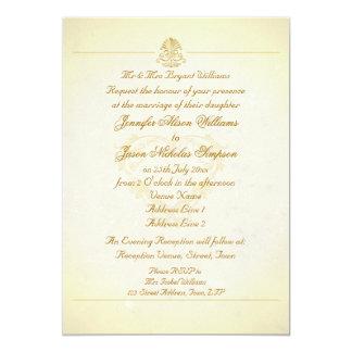 "Wedding Invitation Vintage Parchment Paper Style 5"" X 7"" Invitation Card"